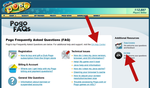 Pogo FAQ, how to get help at Pogo