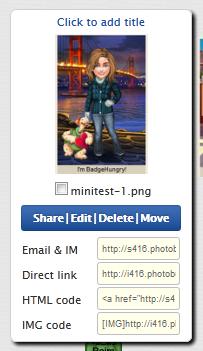 Photobucket image options