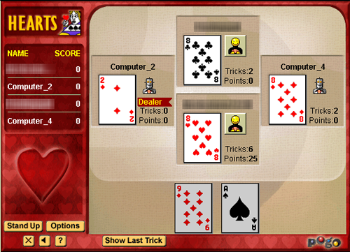 Hearts: Shooting the Moon: play the Ace of Hearts, followed by the King and Queen of Hearts