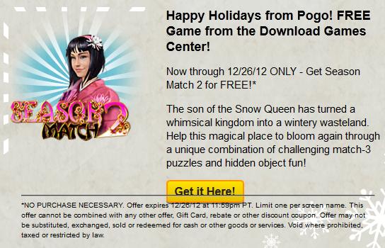 Pogo Holiday Countdown Day 12 - Free download - Season Match 2