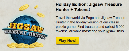 5,000 Free Pogo Tokens for Playing Jigsaw Treasure Hunter