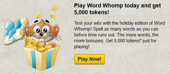 2012 Pogo Holiday Countdown Day 9 - Free Tokens in Word Whomp