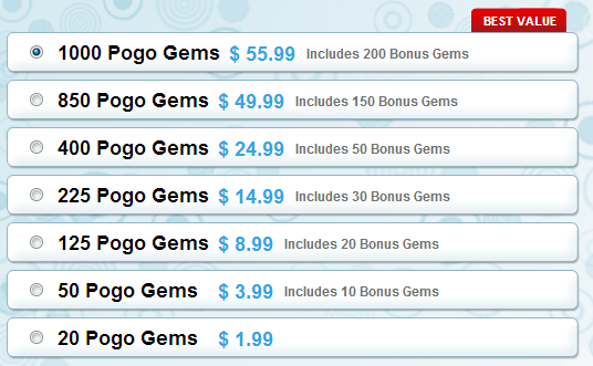 New Pogo Gems Packages 2013