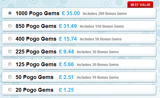 New Pogo Gems Packages for the UK 2013
