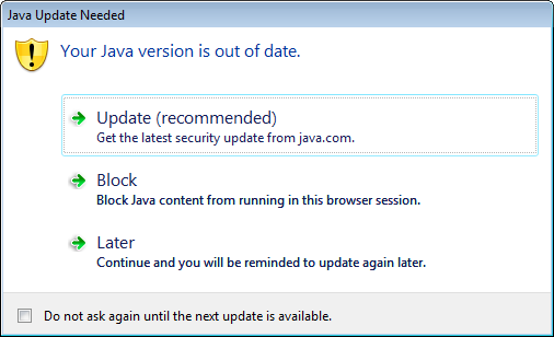 Java update needed