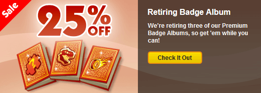 Save 25 on retiring premium badge albums for Gold fish casino promo codes