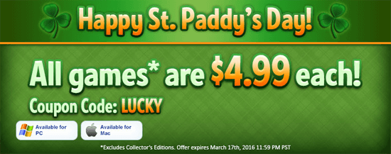Big fish games super sales for st patrick s day for Gold fish casino promo codes
