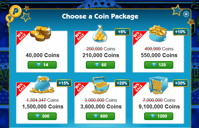Sale on Coin Packs in Coin Casino Games