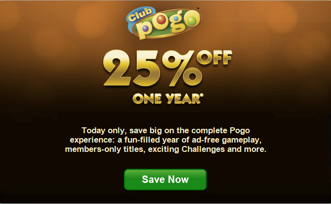 Club pogo coupon code save 25 on one year today only for Gold fish casino promo codes