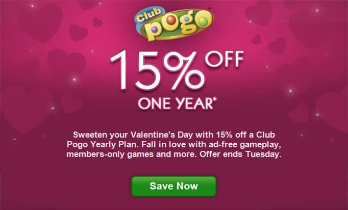 Club pogo coupon code save 15 off one year for Big fish casino free chips promo code