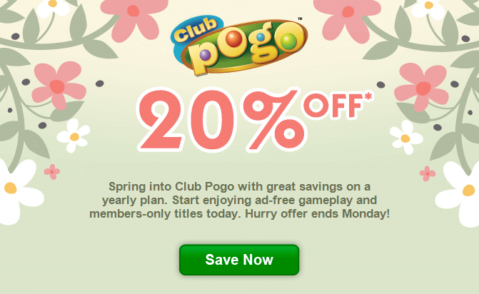Club Pogo Coupon Code: Save 20% on One Year