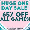 Huge One-Day Sale: 65% Off All Games