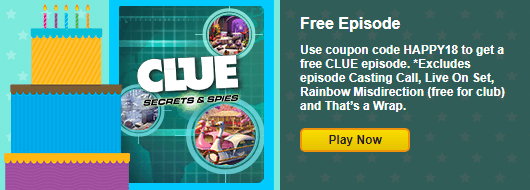 Coupon code free episode of clue secrets spies for Big fish casino free chips promo code