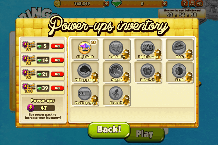 Fringo: Power-ups inventory
