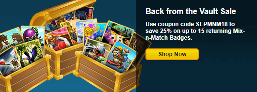 Coupon code mix n match badges back from the vault for Big fish casino free chips promo code