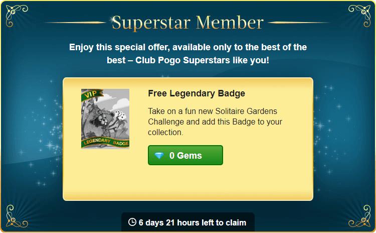 """New Superstar Offer: Free Legendary """"VIP"""" Badge"""