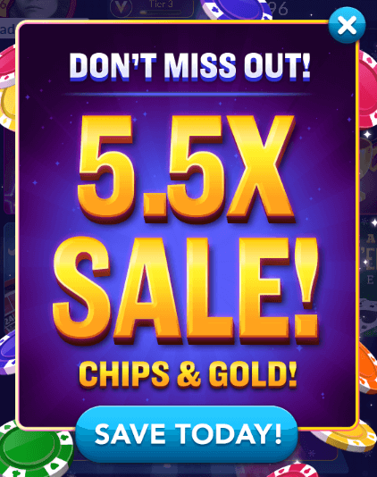 5 5x chips gold sale giveaway today only for Big fish casino free chips promo code
