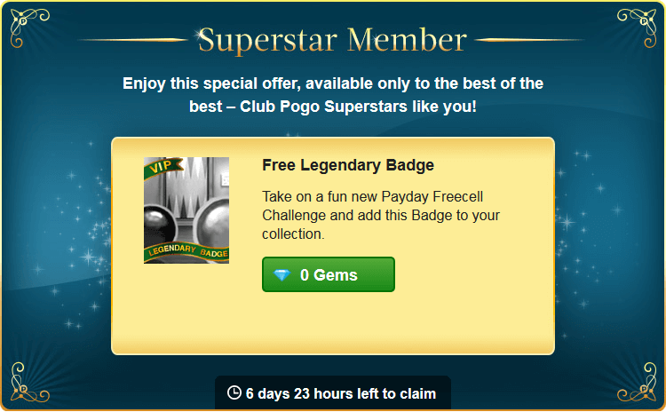 New Superstar Offer: Free Legendary Badge