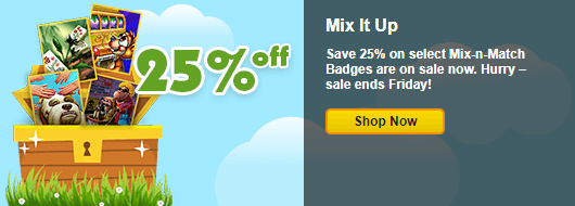 Save 25 on select mix n match badges for Gold fish casino promo codes