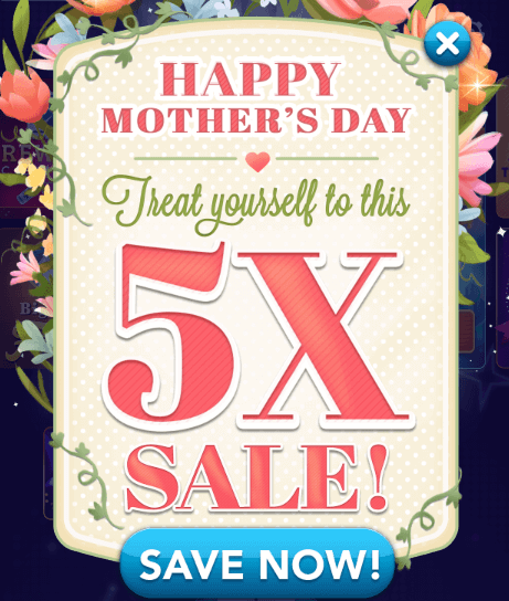 Mother s day 5x sale promos for Gold fish casino promo codes