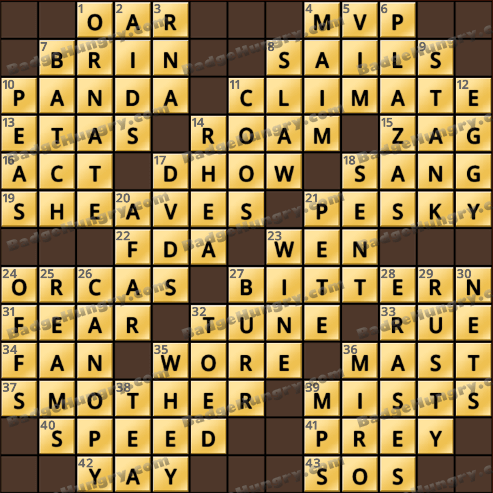 Crossword cove hd solution august 7 2018 for Big fish games mac
