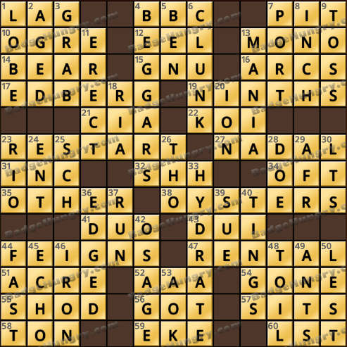 Crossword cove hd solution august 8 2018 for Big fish games mac