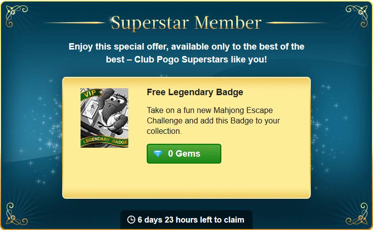 New Superstar Offer: Free Legendary Mahjong Escape Badge