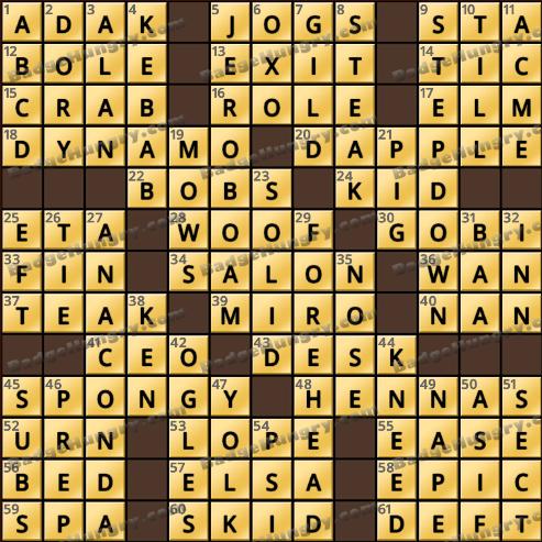 Crossword Cove HD Solution: October 16, 2018