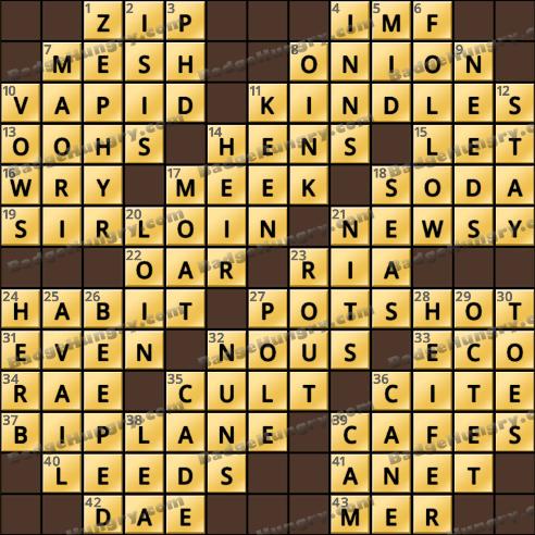 Crossword Cove HD Solution: November 19, 2018
