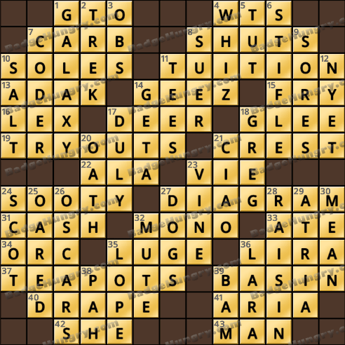 Crossword Cove HD Solution: December 24, 2018