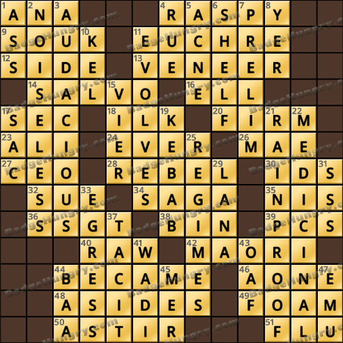 Crossword Cove HD Solution: December 31, 2018