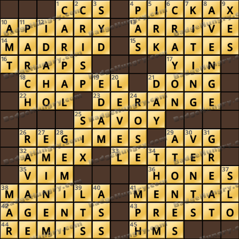 Crossword Cove HD Solution: January 4, 2019