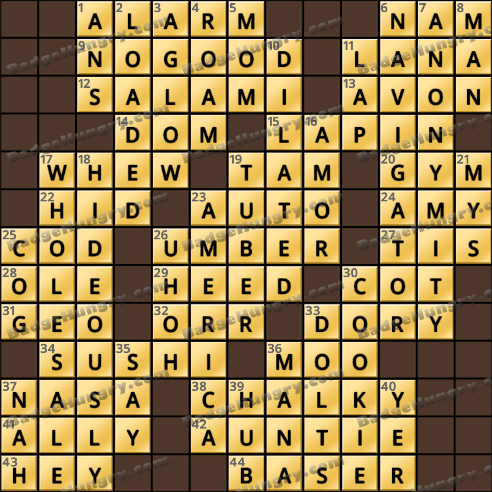 Crossword Cove HD Solution: January 17, 2019