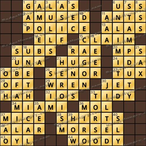 Crossword Cove HD Solution: January 27, 2019