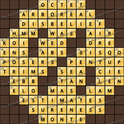 Crossword Cove HD Solution: March 31, 2019