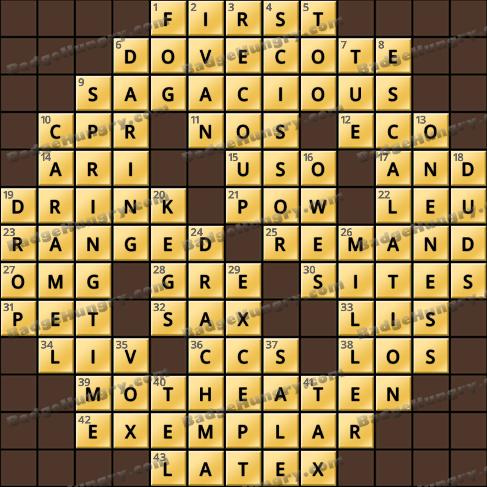 Crossword Cove HD Solution: April 10, 2019