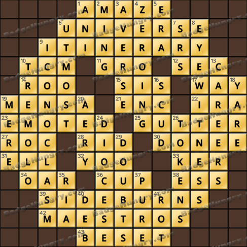 Crossword Cove HD Solution: May 30, 2019