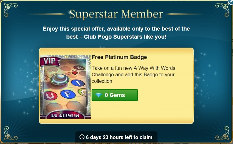 New Superstar Offer: Free Platinum Badge