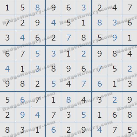 Pogo Daily Sudoku Solutions: June 1, 2019