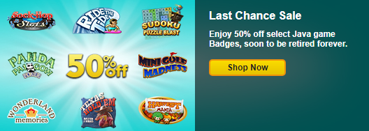 Save 50% on Select Java Game Badges
