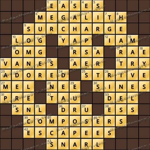 Crossword Cove HD Solution: July 11, 2019