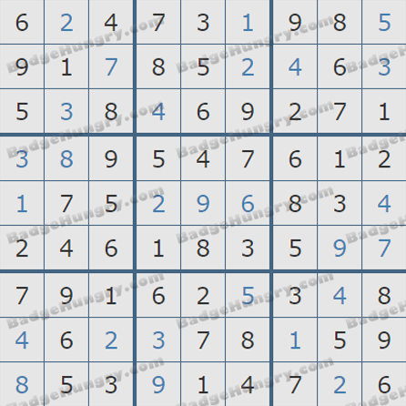 Pogo Daily Sudoku Solutions: August 6, 2019