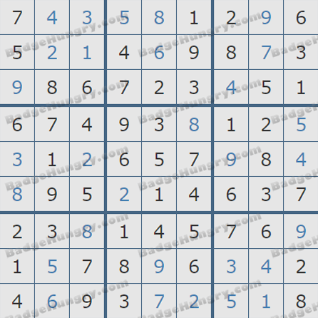 Pogo Daily Sudoku Solutions: August 13, 2019