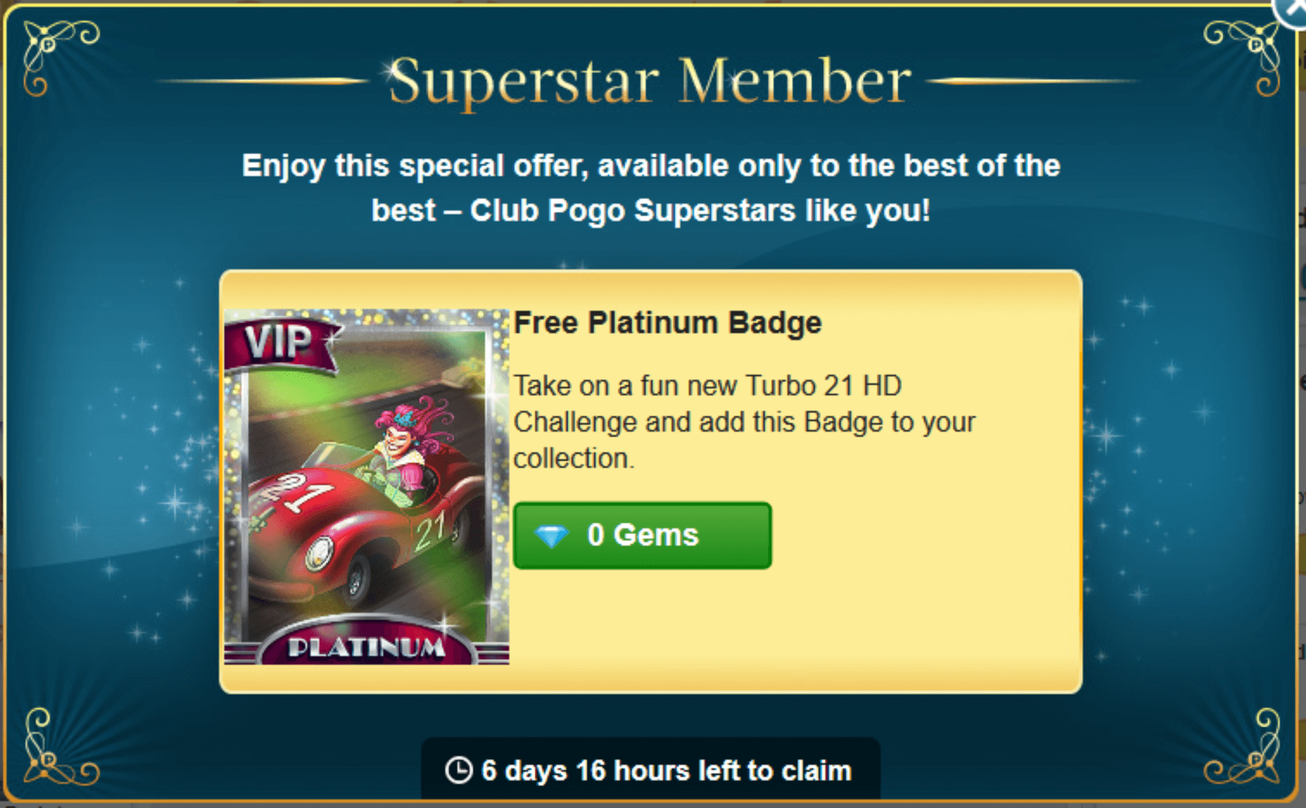 Turbo 21 HD Superstar Offer Premium Badge