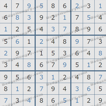 Pogo Daily Sudoku Solutions: August 22, 2019