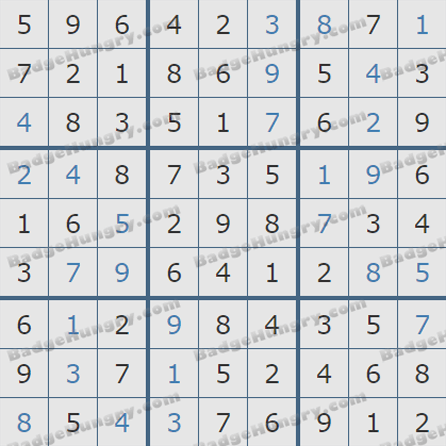 Pogo Daily Sudoku Solutions: August 25, 2019