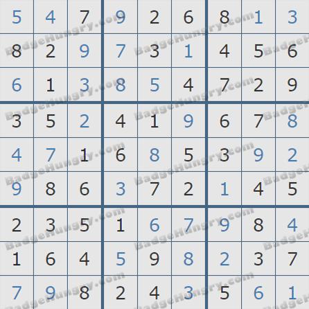 Pogo Daily Sudoku Solutions: September 9, 2019