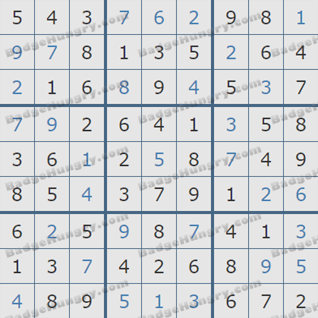 Pogo Daily Sudoku Solutions: September 11, 2019