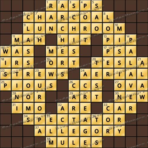 Crossword Cove HD Solution: September 11, 2019