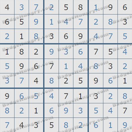 Pogo Daily Sudoku Solutions: September 26, 2019